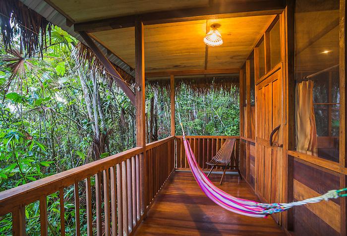 Balcony and hammock at sacha lodge an amazon rainforest for Balcony hammock