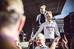 Cecillie Uttrup Ludwig (DEN) Cervelo- Bigla Pro Cycling Team at the Team presentation of La Fleche Wallonne Femmes 2018 running 118.5km from Huy to Huy, Belgium. 17/04/2018.<br /> Picture: ASO/Thomas Maheux | Cyclefile.<br /> <br /> All photos usage must carry mandatory copyright credit (&copy; Cyclefile | ASO/Thomas Maheux)