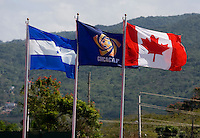 Flags of the participating nations fly over the field during the group stage of the CONCACAF Men's Under 17 Championship at Catherine Hall Stadium in Montego Bay, Jamaica. Canada tied Honduras, 0-0.