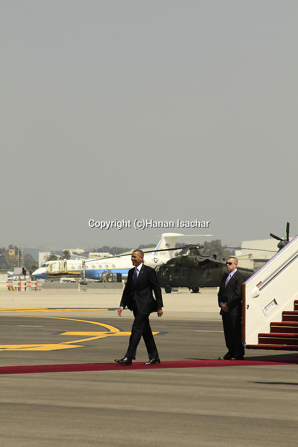 US President Barack Obama visit to Israel, the welcoming ceremony at Ben Gurion Airport