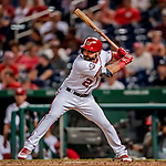 26 September 2018: Washington Nationals outfielder Adam Eaton at bat in the 7th inning against the Miami Marlins at Nationals Park in Washington, DC. The Nationals defeated the visiting Marlins 9-3, closing out Washington's 2018 home season. Mandatory Credit: Ed Wolfstein Photo *** RAW (NEF) Image File Available ***