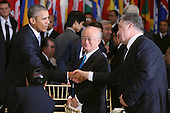 United States President Barack Obama (L) greets President Petro Poroshenko of Ukraine during a luncheon hosted by United Nations Secretary-General Ban Ki-moon at the 70th annual UN General Assembly at the UN headquarters September 28, 2015 in New York City. Obama held a bilateral meeting with Indian Prime Minister Narendra Modi and will have a face-to-face meeting with Russian President Vladimir Putin later in the day.  <br /> Credit: Chip Somodevilla / Pool via CNP
