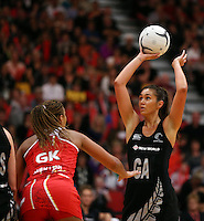 28.10.2014 Silver Ferns Ameliaranne Wells and England's Geva Mentor in action during the Silver Ferns V England netball match played at the Rotorua Events Centre in Rotorua. Mandatory Photo Credit ©Michael Bradley.