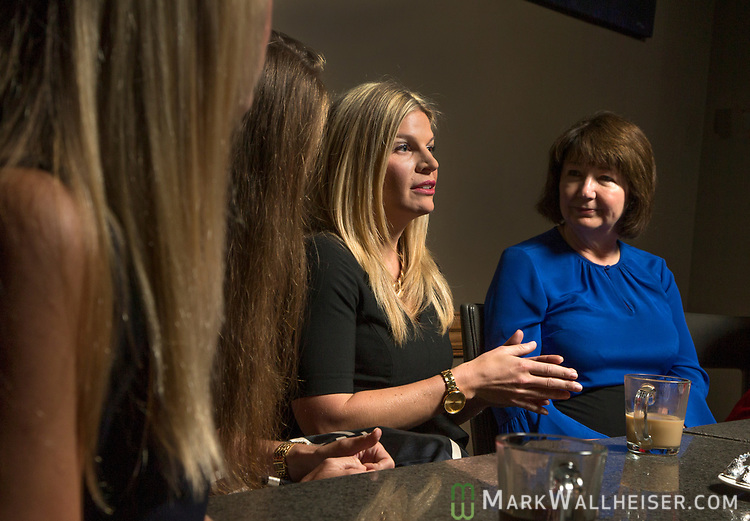 Lobbyist Andrea Reilly, second from right, talks during a Florida Women Lobbyist round table at the Blue Halo Restaurant in Tallahassee, Florida.