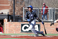 ELON, NC - MARCH 1: Diego Gines #11 of Indiana State University hits the ball during a game between Indiana State and Elon at Walter C. Latham Park on March 1, 2020 in Elon, North Carolina.