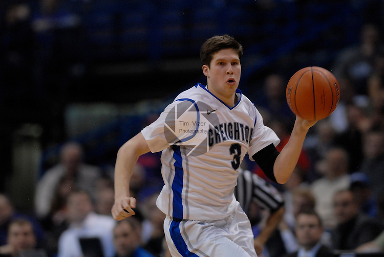 Creighton Bluejays forward Doug McDermott (3) in the first quarterfinal game of the Missouri Valley Conference Tournament. The Creighton University Bluejays defeated the Drake Bulldogs 65-53 on Friday March 8, 2013 at the Scottrade Center in St. Louis, Missouri.