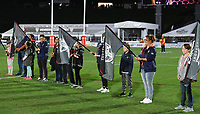 Guard of honour from members and fans.<br /> NRL Premiership rugby league. Vodafone Warriors v St George Illawarra. Mt Smart Stadium, Auckland, New Zealand. Friday 20 April 2018. &copy; Copyright photo: Andrew Cornaga / www.Photosport.nz