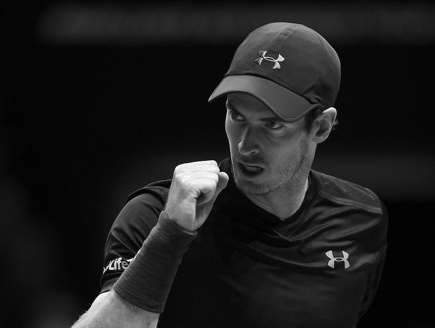 Andy Murray of Great Britain in action during his victory over Novak Djokovic of Serbia in their men&rsquo;s singles Final match on day eight of the ATP World Tour Finals - Andy Murray def Novak Djokovic 6-3, 6-4<br /> <br /> Photographer Ashley Western/CameraSport<br /> <br /> International Tennis - Barclays ATP World Tour Finals - Day 8 - Sunday 20th November 2016 - O2 Arena - London<br /> <br /> World Copyright &copy; 2016 CameraSport. All rights reserved. 43 Linden Ave. Countesthorpe. Leicester. England. LE8 5PG - Tel: +44 (0) 116 277 4147 - admin@camerasport.com - www.camerasport.com