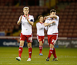 James McEveley of Sheffield Utd and Kieran Wallace of Sheffield Utd applaud the fans - FA Cup Second round - Sheffield Utd vs Oldham Athletic - Bramall Lane Stadium - Sheffield - England - 5th December 2015 - Picture Simon Bellis/Sportimage
