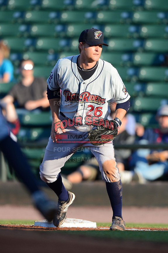 Scranton Wilkes-Barre RailRiders first baseman Dan Johnson #26 during a game against the Rochester Red Wings on June 19, 2013 at Frontier Field in Rochester, New York.  Scranton defeated Rochester 10-7.  (Mike Janes/Four Seam Images)