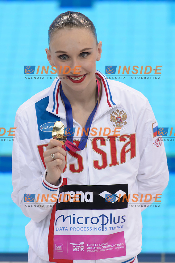 Natalia ISHCHENKO RUS Russia Gold Medal <br /> Solo Free Final <br /> London, Queen Elizabeth II Olympic Park Pool <br /> LEN 2016 European Aquatics Elite Championships <br /> Synchronized Swimming <br /> Day 02 10-05-2016<br /> Photo Andrea Staccioli/Deepbluemedia/Insidefoto