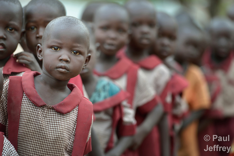 Students line up during an assembly at the beginning of the day in the Loreto Primary School in Rumbek, South Sudan. The Loreto Sisters began a secondary school for girls in 2008, with students from throughout the country, but soon after added a primary in response to local community demands.