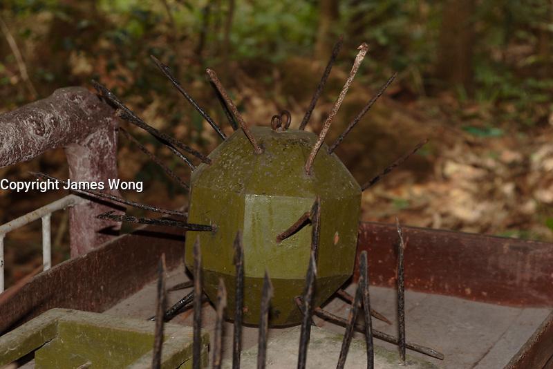 Ho Chi Minh city<br /> , Vietnam - 2007 File Photo -<br /> <br /> Spike Balls ;  boobie  trap  on display at Cu Chi tunnels.   <br /> <br /> <br /> <br /> <br /> photo : James Wong-  Images Distribution