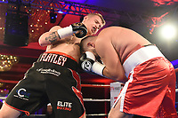 Jack Flatley (black shorts) defeats Marian Cazacu during a Charity Dinner Boxing Show at the Hilton Hotel on 13th November 2017