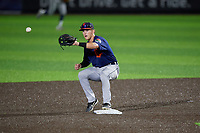 Connecticut Tigers second baseman Corey Joyce (8) waits for a throw during a NY-Penn League game against the Auburn Doubledays on July 12, 2019 at Falcon Park in Auburn, New York.  Auburn defeated Connecticut 7-5.  (Mike Janes/Four Seam Images)
