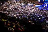 Denver, Democratic National Convention...Michelle Obama convention site tour, Sam Donaldson with Denver Mayor John Hickenlooper..Michelle Obama speech, Ted Kennedy speech, opening day details