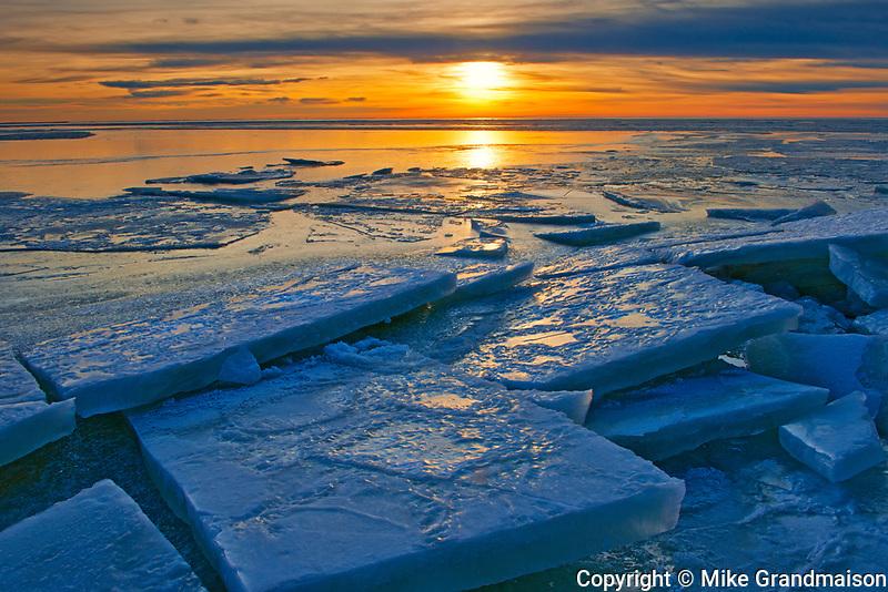 Ice on Lake Winnipeg at sunset, , Manitoba, Canada