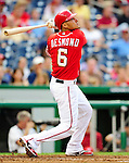 23 September 2010: Washington Nationals infielder Ian Desmond in action against the Houston Astros at Nationals Park in Washington, DC. The Nationals defeated the Astros 7-2 for their third consecutive win, taking the series three games to one. Mandatory Credit: Ed Wolfstein Photo