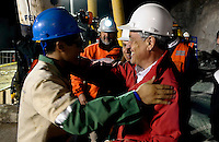 Chile President Sebastian Piñera received Bolivian miner just rescued Carlos Mamani. Rescue in San Jose mine, north of Chile