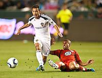 CARSON, CA – June 3, 2011: LA Galaxy midfielder Juninho (19) and DC United midfielder Fred (27) during the match between LA Galaxy and DC United at the Home Depot Center in Carson, California. Final score LA Galaxy 0, DC United 0.