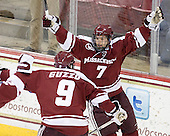 Colin Shea (UMass - 8) and Michael Pereira (UMass - 7) celebrate, but the play was ruled no goal following video review. - The Boston College Eagles defeated the visiting University of Massachusetts-Amherst Minutemen 2-1 in the opening game of their 2012 Hockey East quarterfinal matchup on Friday, March 9, 2012, at Kelley Rink at Conte Forum in Chestnut Hill, Massachusetts.