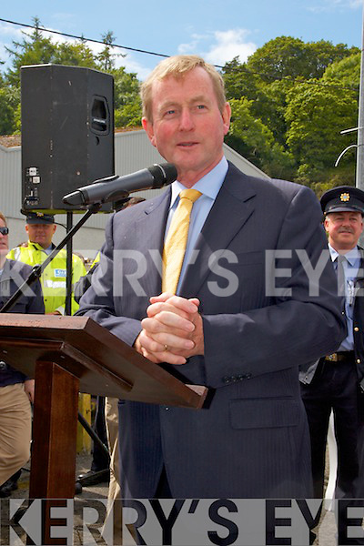 Pictured at the 75th Anniversary Air Show in Foynes on Sunday was An Taoiseach Enda Kenny addressing spectators at the event.