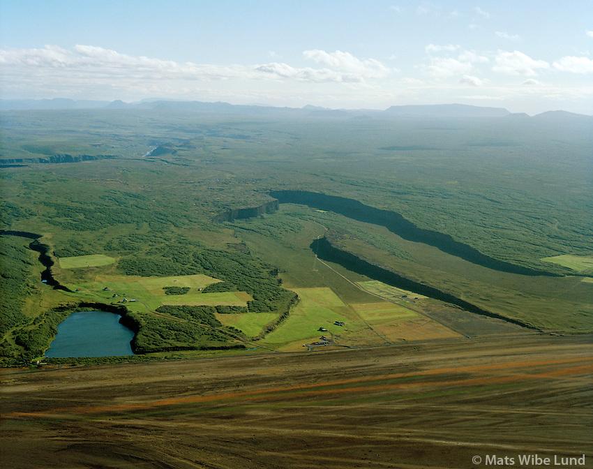 Ástjörn, Ás og Ásbyrgi séð til suðurs, Kelduneshreppur / Astjorn (lake), As and Asbyrgi viewing south, Keduneshreppur.
