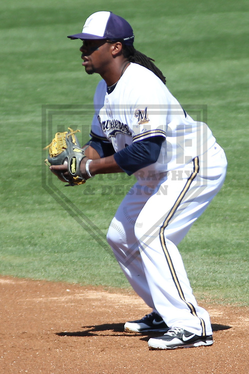 MARYVALE - March 2013:  Rickie Weeks (23) of the Milwaukee Brewers during a Spring Training game against the Los Angeles Dodgers on March 11, 2013 at Maryvale Baseball Park in Maryvale, Arizona. Milwaukee defeated Los Angeles 3-2. (Photo by Brad Krause). ...