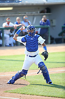 Keibert Ruiz (10) of the Rancho Cucamonga Quakes throws to first base during a game against the Stockton Ports at Loan Mart Field on July 16, 2017 in Rancho Cucamonga, California. Rancho Cucamonga defeated Stockton 9-1. (Larry Goren/Four Seam Images)