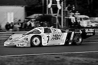 LE MANS, FRANCE - JUNE 16: The winning New-Man-Joest Racing Porsche 956B 117 driven by Klaus Ludwig, Paolo Barilla and John Winter during the 24 Hours of Le Mans FIA World Sports Car Championship race at the Circuit de la Sarthe in Le Mans, France on June 16, 1985.