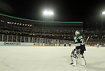 OMAHA, NE - FEBRUARY 9:  Zane Gothberg #31 from the University of North Dakota keeps loose during a time out against the University of Nebraska Omaha in the second period at the Battle on Ice Saturday at TD Ameritrade in Omaha, NE. (Photo by Dave Eggen/Inertia)