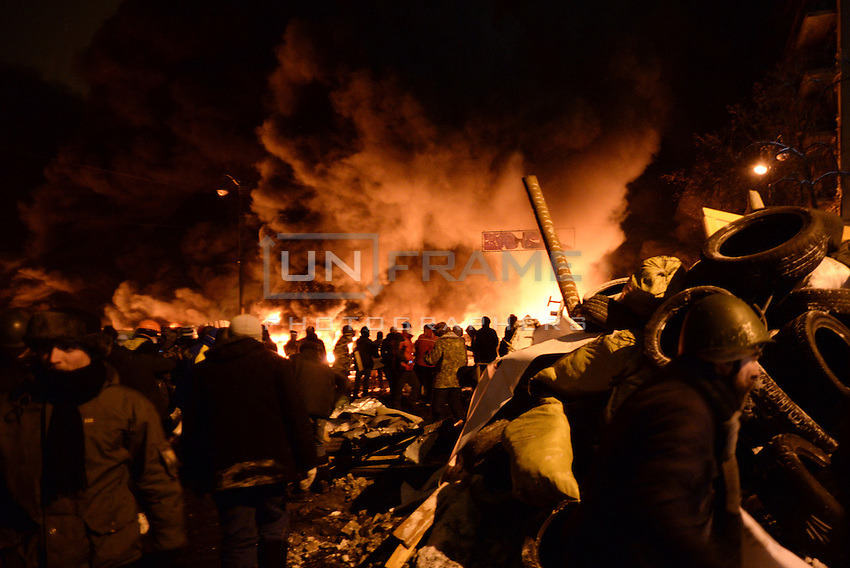 The battlefield and the barricades are engulfed by the flames ignited by molotov cocktails used by the rioters during the   protest against new draconian law to ban the right to  protest across the country.  Kiev. Ukraine