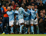 David Silva of Manchester City (2l) celebrates scoring their second goal 2-1 during the premier league match at the Etihad Stadium, Manchester. Picture date 3rd December 2017. Picture credit should read: Andrew Yates/Sportimage
