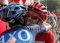 Alberto Contador celebrates with his partners the victory in La Vuelta when comes to the finish line in the stage of La Vuelta 2012 beetwen Cercedilla and Madrid.September 9,2012. (ALTERPHOTOS/Paola Otero)