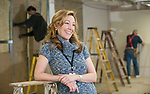 Sally D'Angelo in the Annapolis Shakespeare Compainies new theater space, under construction in Annapolis. (by Joshua McKerrow-Capital Gazette) 2/21/13