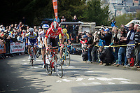 race leaders led by Thomas De Gendt (BEL/Lotto-Soudal) in the first ascent up the infamous Mur de Huy (1300m/9.8%)<br /> <br /> 79th Fl&egrave;che Wallonne 2015