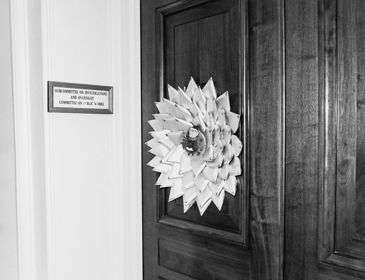 Decorated office door of Rep. John E. Moss, D-Calif., around Christmas. (Photo by Dev O'Neill/CQ Roll Call via Getty Images)