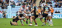 Leicester Tigers' Tom Youngs is tackled by Wasps' Ben Harris and Kieran Brookes <br /> <br /> Photographer Stephen White/CameraSport<br /> <br /> Gallagher Premiership - Wasps v Leicester Tigers - Sunday 16th September 2018 - Ricoh Arena - Coventry<br /> <br /> World Copyright &copy; 2018 CameraSport. All rights reserved. 43 Linden Ave. Countesthorpe. Leicester. England. LE8 5PG - Tel: +44 (0) 116 277 4147 - admin@camerasport.com - www.camerasport.com