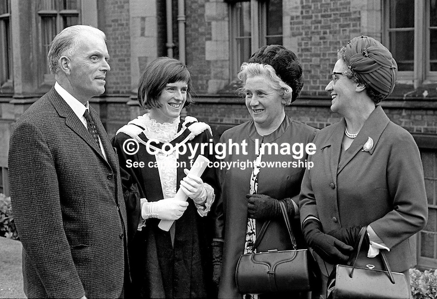 QUB, Queen's University, Belfast, N Ireland, Graduations, 6th July, 1970 - left to right: George Seaton, father, Margaret Artt, Annie Seaton, Margaret Shannon. 197007060247AM2<br />