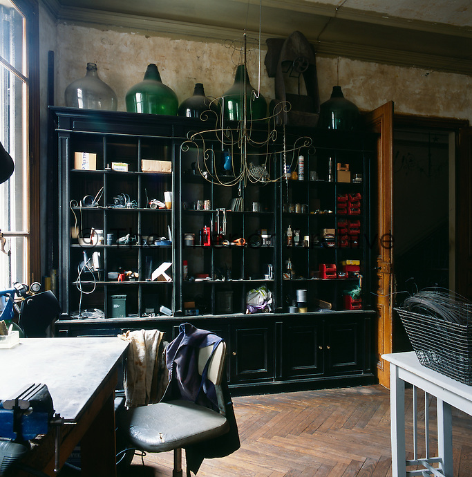 Pascale Palun's workshop is furnished with an eclectic mix of furniture and objects, This is where she creates her many intriguing pieces of work.