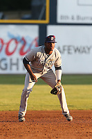 Carlos Belen (24) of the Tri-City Dust Devils in the field at third base during a game against the Vancouver Canadians at Nat Bailey Stadium on July 23, 2015 in Vancouver, British Columbia. Tri-City defeated Vancouver, 6-4. (Larry Goren/Four Seam Images)