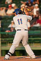 Catcher Francisco Pena of the St. Lucie Mets waits forr a pitch during the game against the Daytona Beach Cubs at Jackie Robinson Ballpark on May 25, 2011 in Daytona Beach, Florida. Photo by Scott Jontes / Four Seam Images