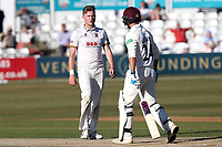 Sam Cook of Essex exchanges words with Lewis Gregory after his appeals for a wicket are turned down during Essex CCC vs Somerset CCC, Specsavers County Championship Division 1 Cricket at The Cloudfm County Ground on 27th June 2018