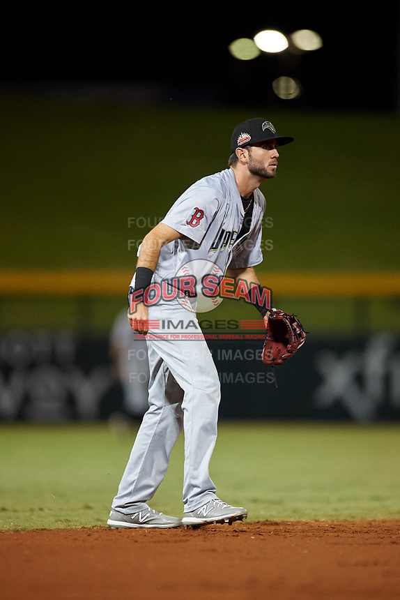 Peoria Javelinas shortstop C.J. Chatham (24), of the Boston Red Sox organization, during an Arizona Fall League game against the Mesa Solar Sox on September 21, 2019 at Sloan Park in Mesa, Arizona. Mesa defeated Peoria 4-1. (Zachary Lucy/Four Seam Images)