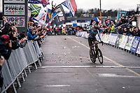 Toon Aerts (BEL) finishing 3th place. <br /> <br /> Men's Elite race<br /> UCI 2020 Cyclocross World Championships<br /> Dübendorf / Switzerland<br /> <br /> ©kramon