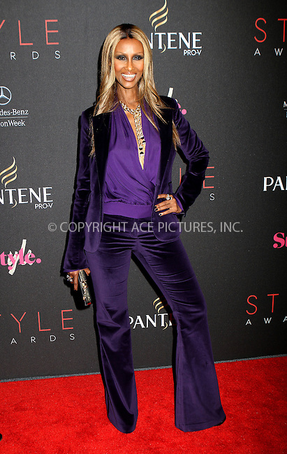 WWW.ACEPIXS.COM....September 5, 2012, New York City, NY.......Iman arriving at the 9th Annual Style Awards at Lincoln Center on September 5, 2012 in New York City.........By Line: Nancy Rivera/ACE Pictures....ACE Pictures, Inc..Tel: 646 769 0430..Email: info@acepixs.com