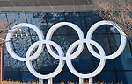 The Olympic rings outside the MPC. Views from around the Main Press Centre (MPC). Pyeongchang2018 winter Olympics. Main Press Centre. Alpensia. Pyeongchang. Republic of Korea. 08/02/2018. ~ MANDATORY CREDIT Garry Bowden/SIPPA - NO UNAUTHORISED USE - +44 7837 394578