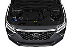 Car Stock 2020 Hyundai Santa-FE SE 5 Door SUV Engine  high angle detail view