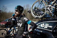 'Beardo Bernie' Eisel (AUT/SKY)<br /> <br /> 2015 Paris-Roubaix recon with Team SKY