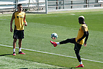 Getafe's Faycal Fajr (l) and Amath Ndiaye during training session. June 5,2020.(ALTERPHOTOS/Acero)